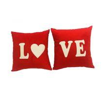 کوسن فانتزی مخمل مدل Love دو تکه رنگ قرمز